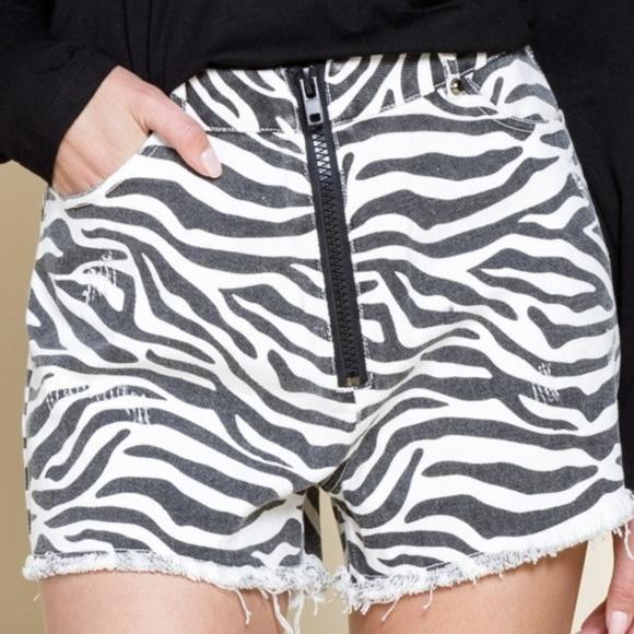 mittoshop Pants - Zebra Frayed Hem Shorts